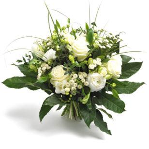 boeket witte rozen en bloemen groot