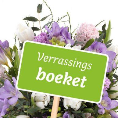 Verrassingsboeket seizoensbloemen paars