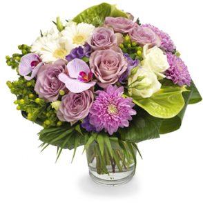 Luxueus roze en paars boeket groot