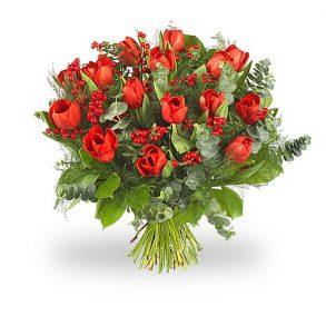 Kerstboeket met rode tulpen groot