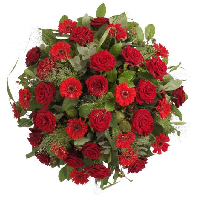 Biedermeier rode rozen klassiek bovenaanzicht