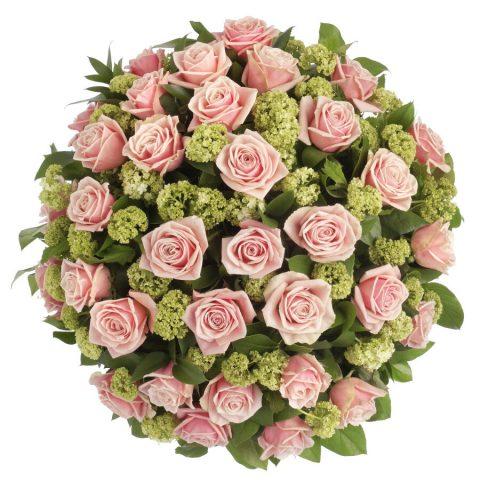 Biedermeier roze rozen klassiek bovenaanzicht