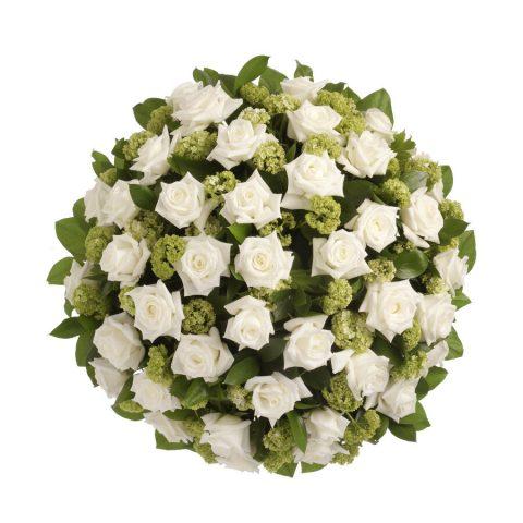 Biedermeier witte rozen klassiek bovenaanzicht