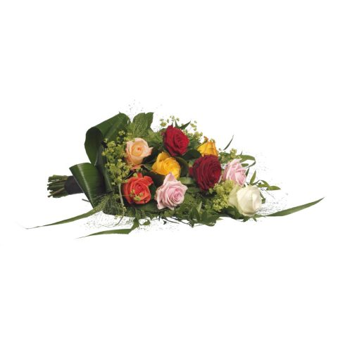 Eenvoudig rouwboeket bonte rozen & groen