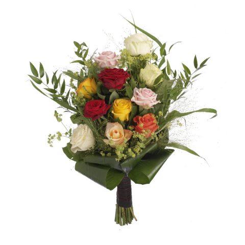 Eenvoudig rouwboeket bonte rozen & groen bovenaanzicht