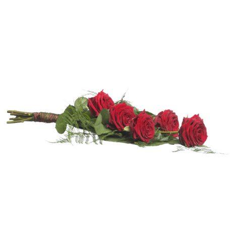 Eenvoudig rouwboeket rode rozen & groen