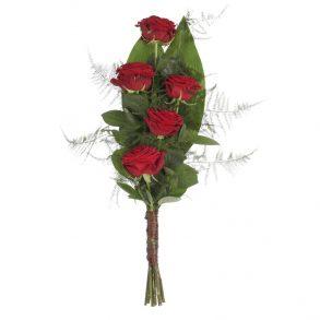 Eenvoudig rouwboeket rode rozen & groen bovenaanzicht