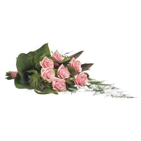 Eenvoudig rouwboeket roze rozen & groen