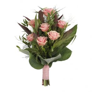 Eenvoudig rouwboeket roze rozen & groen bovenaanzicht