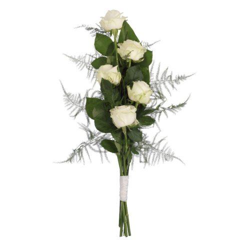 Eenvoudig rouwboeket witte rozen & groen bovenaanzicht