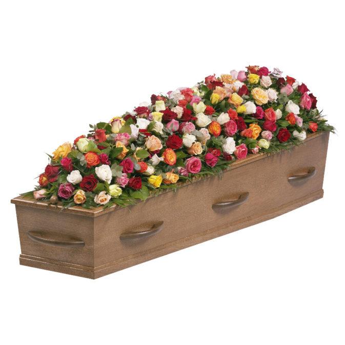 Kistbedekking bonte rozen klassiek