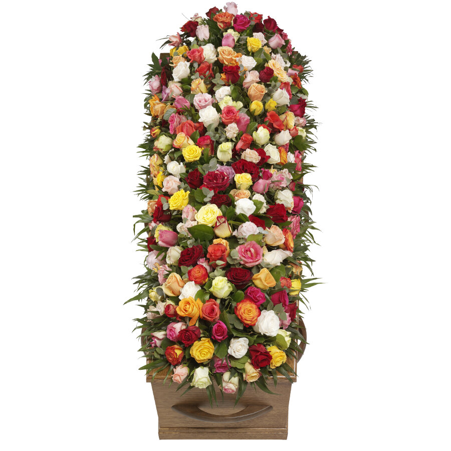 Kistbedekking bonte rozen klassiek bovenaanzicht