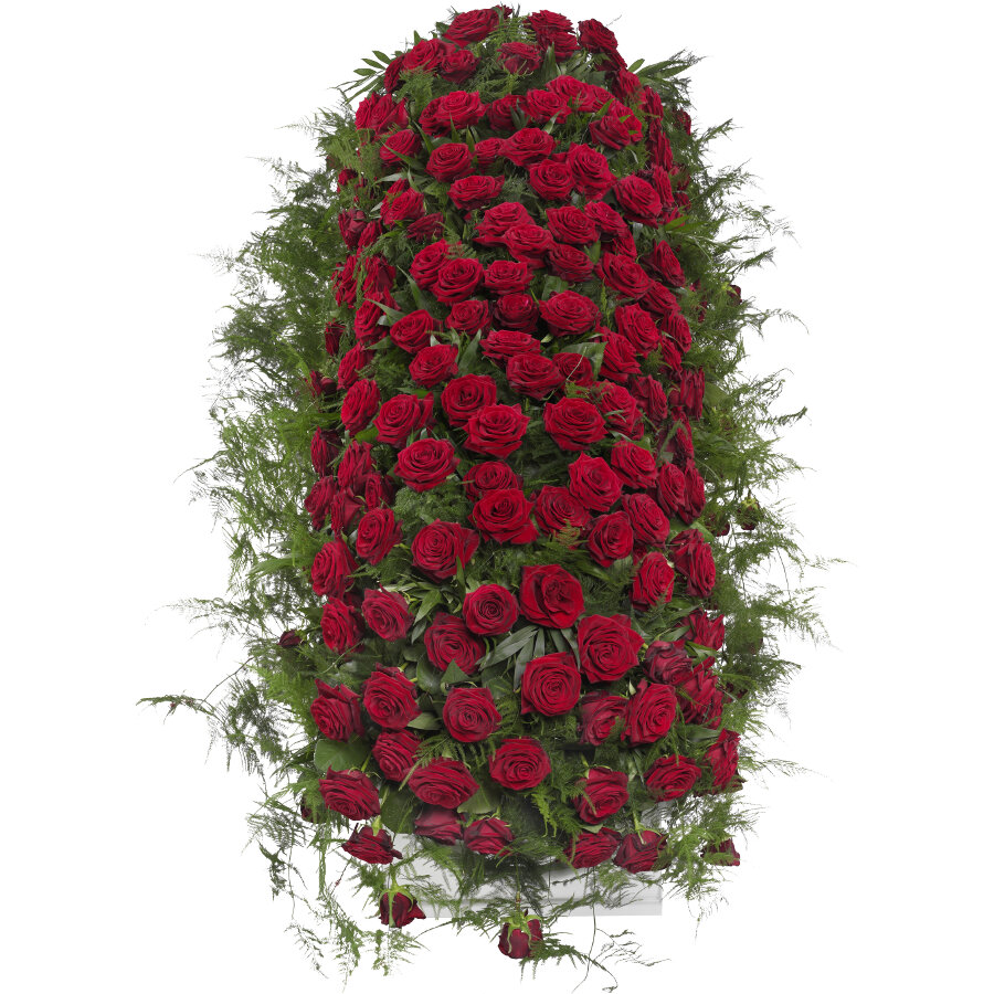 Kistbedekking rode rozen klassiek bovenaanzicht