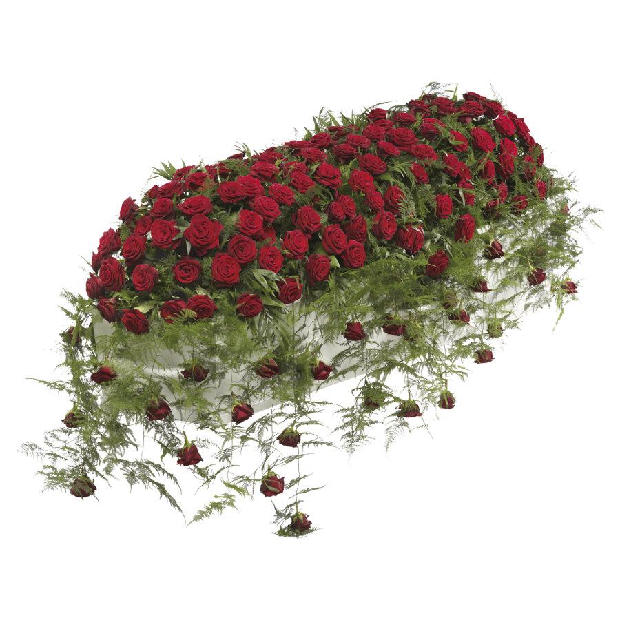 Kistbedekking rode rozen klassiek