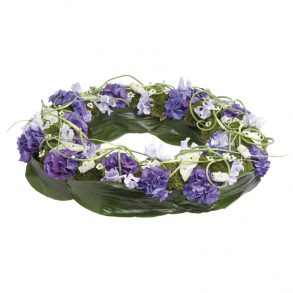Rouwkrans modern blauw en paars