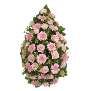 Rouwstuk klassiek druppel roze bovenaanzicht