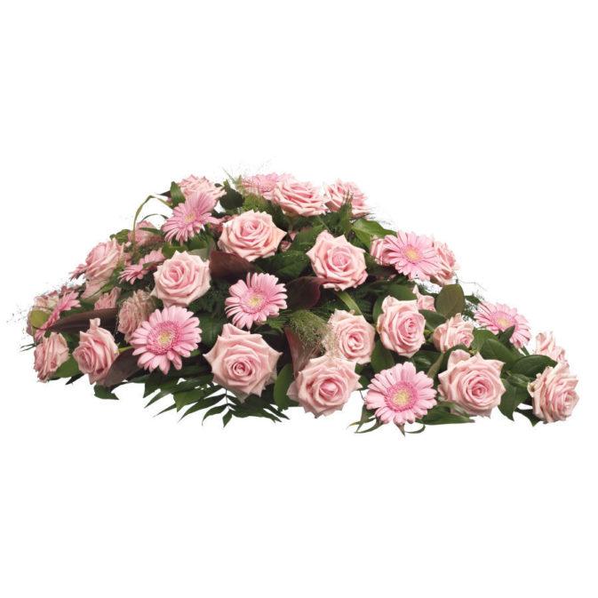 Rouwstuk klassiek ruit roze