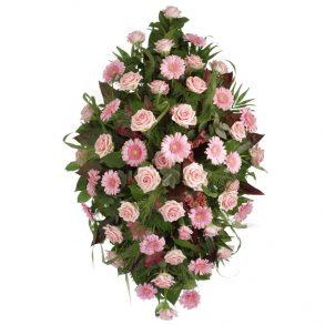 Rouwstuk klassiek ruit roze bovenaanzicht