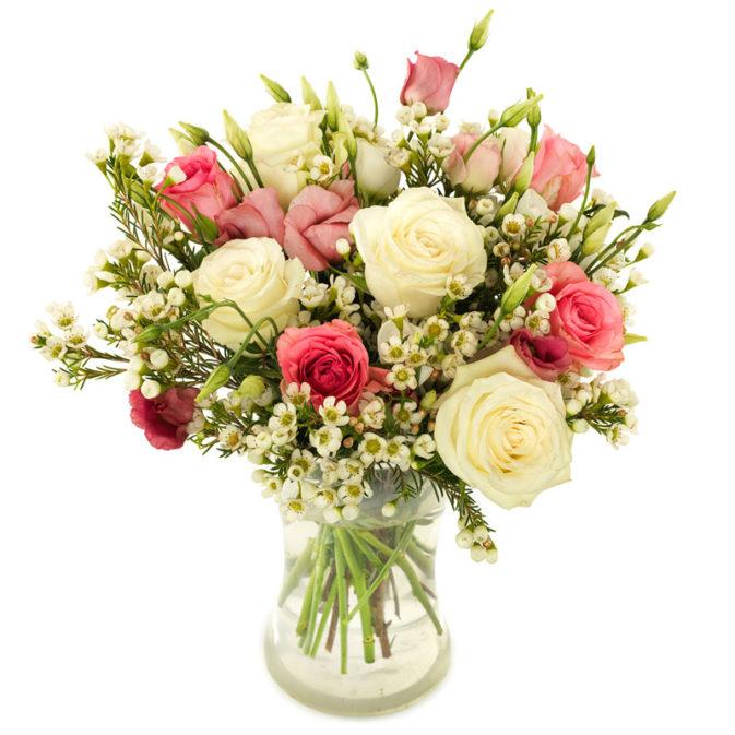 Veldboeket rozen pastel groot